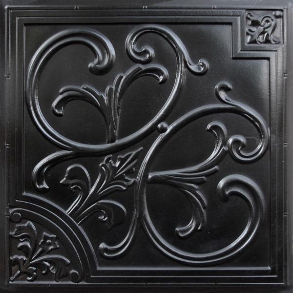 D204 Pvc Ceiling Tile 24x24 Glue Up Drop In Black Faux Tin Tiles 2 X2