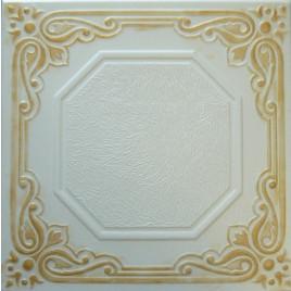 R32 STYROFOAM CEILING TILE 20X20 - LISBONA - WHITE GOLD