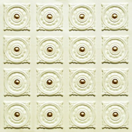 D128 PVC CEILING TILE 24X24 GLUE UP - CREAM PEARL & GOLD