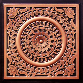 D211 PVC CEILING TILE 24X24 GLUE UP / DROP IN - ANTIQUE COPPER