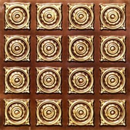 D128 PVC CEILING TILE 24X24 GLUE UP - ANTIQUE BRASS