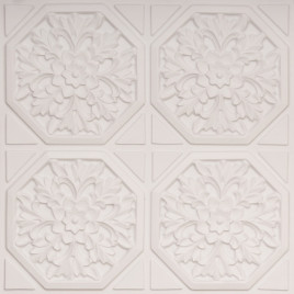 D108 PVC CEILING TILE 24X24 GLUE UP - WHITE MATTE