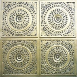 D117 PVC CEILING TILE 24X24 GLUE UP - ANTIQUE BRASS