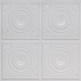 D117 PVC CEILING TILE 24X24 GLUE UP - WHITE PEARL