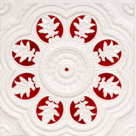 D240 PVC CEILING TILE 24X24 GLUE UP - WHITE PEARL & RED