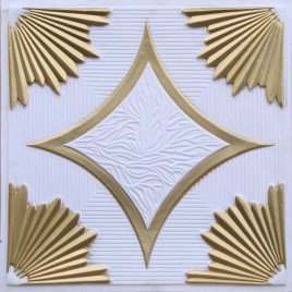 D201 PVC CEILING TILE 24X24 GLUE UP / DROP IN - WHITE MATTE GOLD