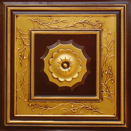 D219 PVC CEILING TILE 24X24 GLUE UP / DROP IN - ANTIQUE BRASS